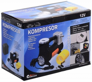 COMPASS Kompresor 12V POWER BULL s LED svetlom